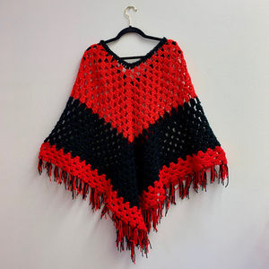 Vintage Sweaters - vintage crochet red and black knit poncho